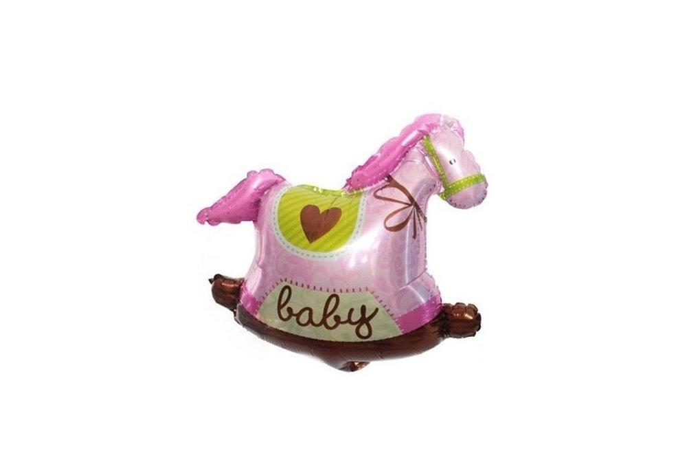 Grote XL roze hobbelpaard ballon baby voor geboorte meisje 95 cm