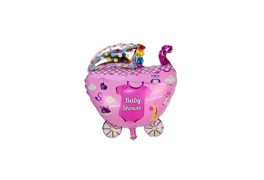 Grote XL roze kinderwagen ballon babyshower voor geboorte meisje 68 cm