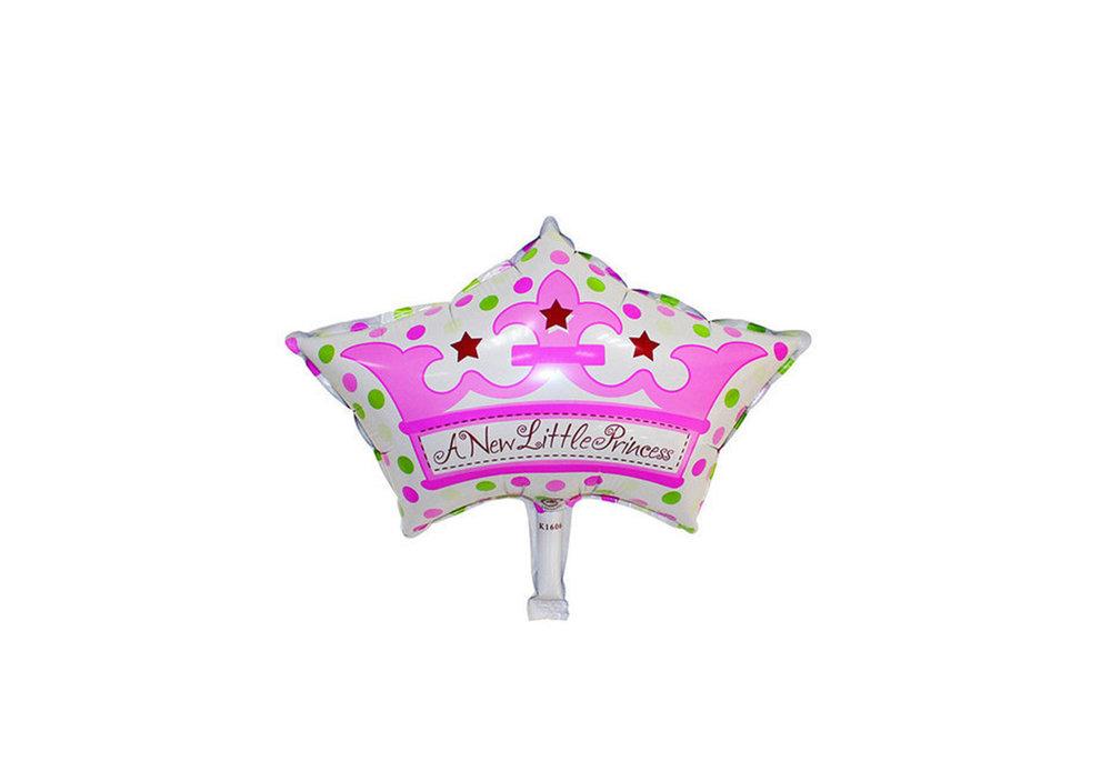 Grote XL roze kroon ballon new little princes voor geboorte meisje 57 cm