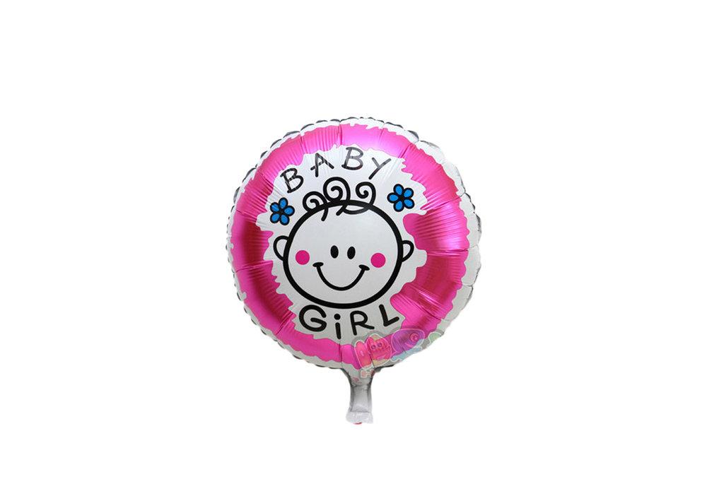 Grote XL roze ronde ballon its a girl voor geboorte meisje 40 cm