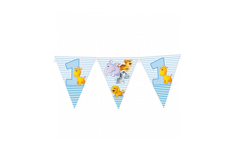 Vlaggen slinger met eerste verjaardag boy