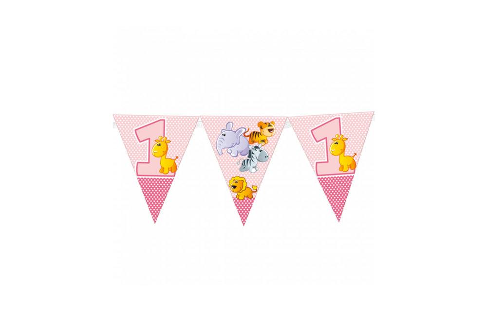 Vlaggen slinger met eerste verjaardag girl