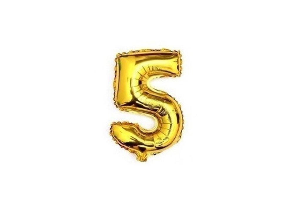 100 cm grote XL folie ballon van hoge kwaliteit nummer 5 goud