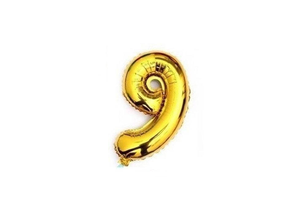 100 cm grote XL folie ballon van hoge kwaliteit nummer 9 goud