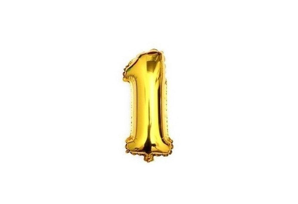 ballon - 41 cm - goud - cijferballon - cijfer 1