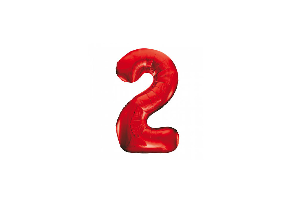 Cijferballon rood 86 cm nummer 2 professionele kwaliteit