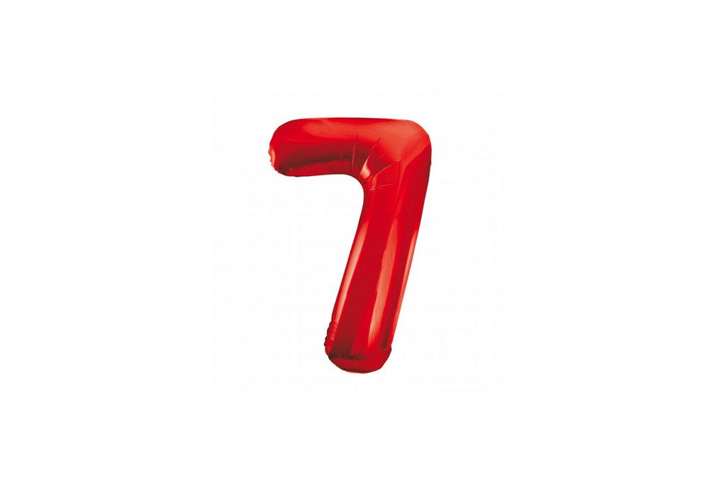 Cijferballon rood 86 cm nummer 7 professionele kwaliteit