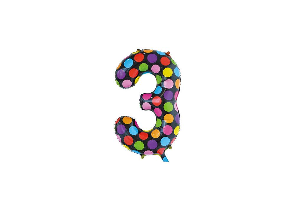 Folie ballon cijfer 3 in het zwart met gekleurde stippen 86 cm