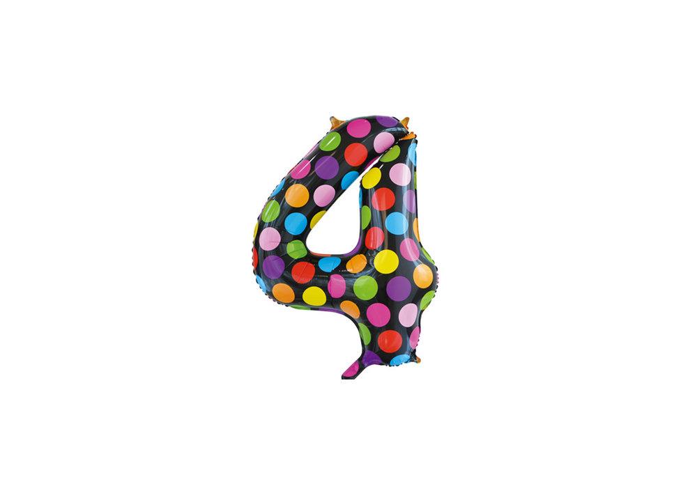 Folie ballon cijfer 4 in het zwart met gekleurde stippen 86 cm