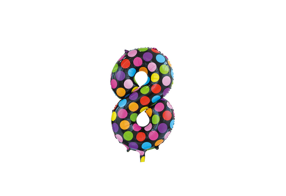 Folie ballon cijfer 8 in het zwart met gekleurde stippen 86 cm