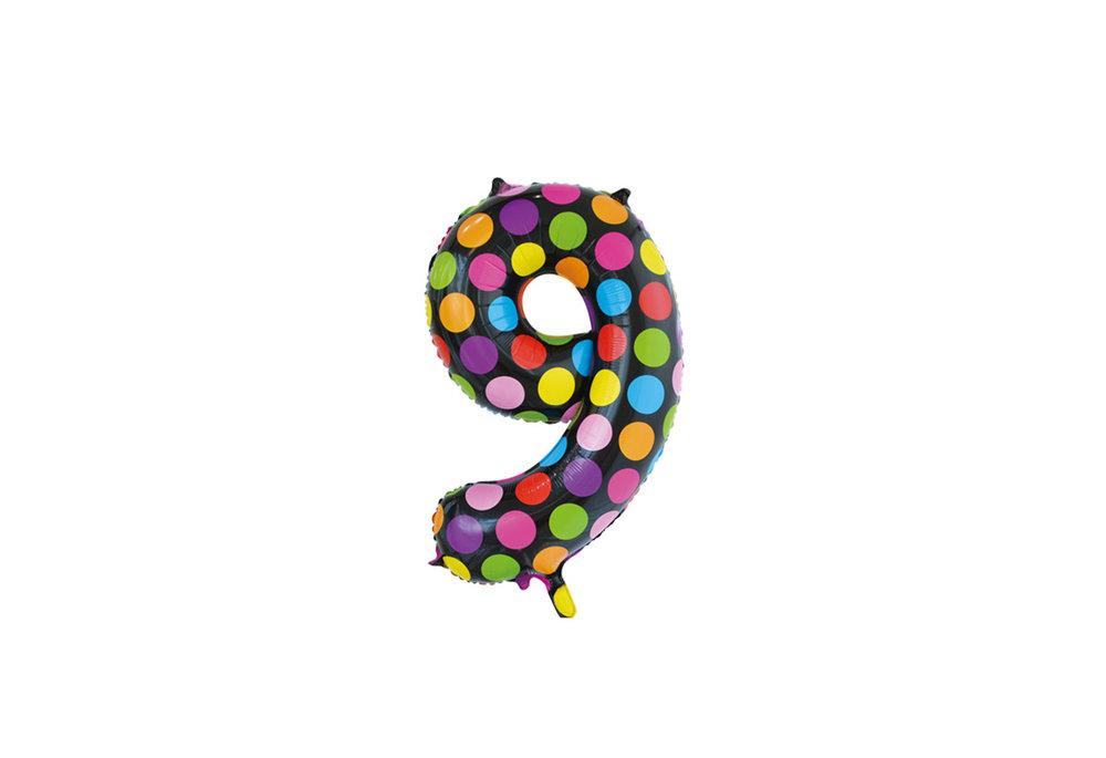 Folie ballon cijfer 9 in het zwart met gekleurde stippen 86 cm