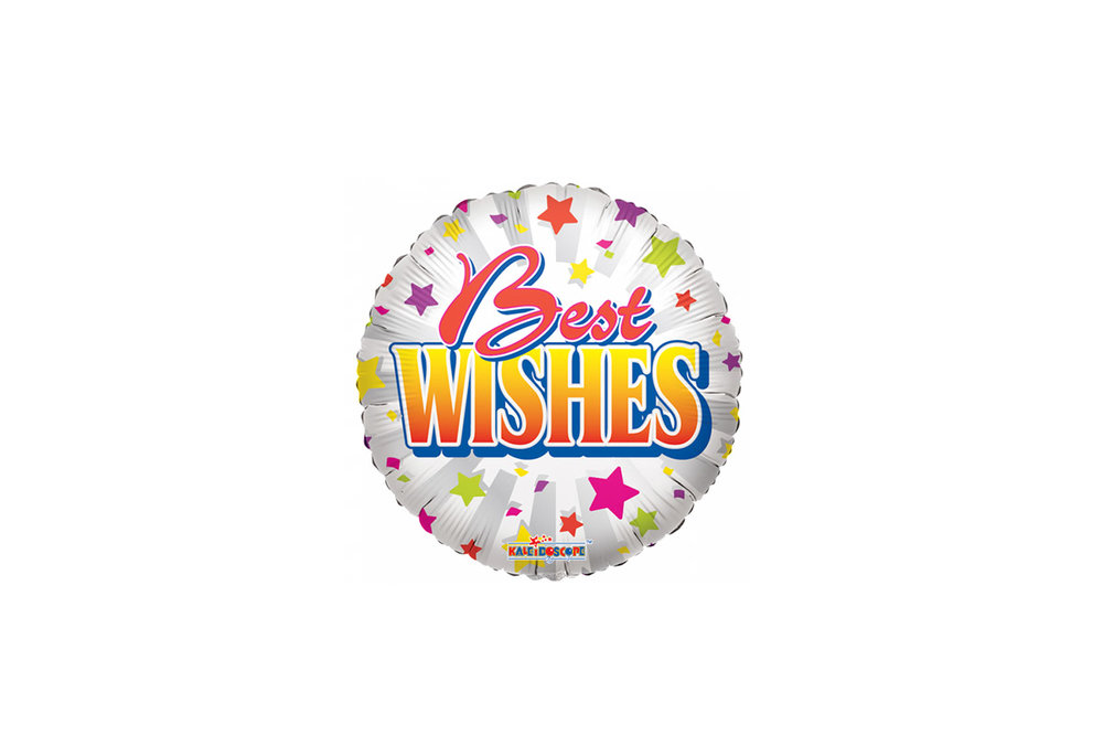 Folie ballon Best Wishes rond 46 cm groot