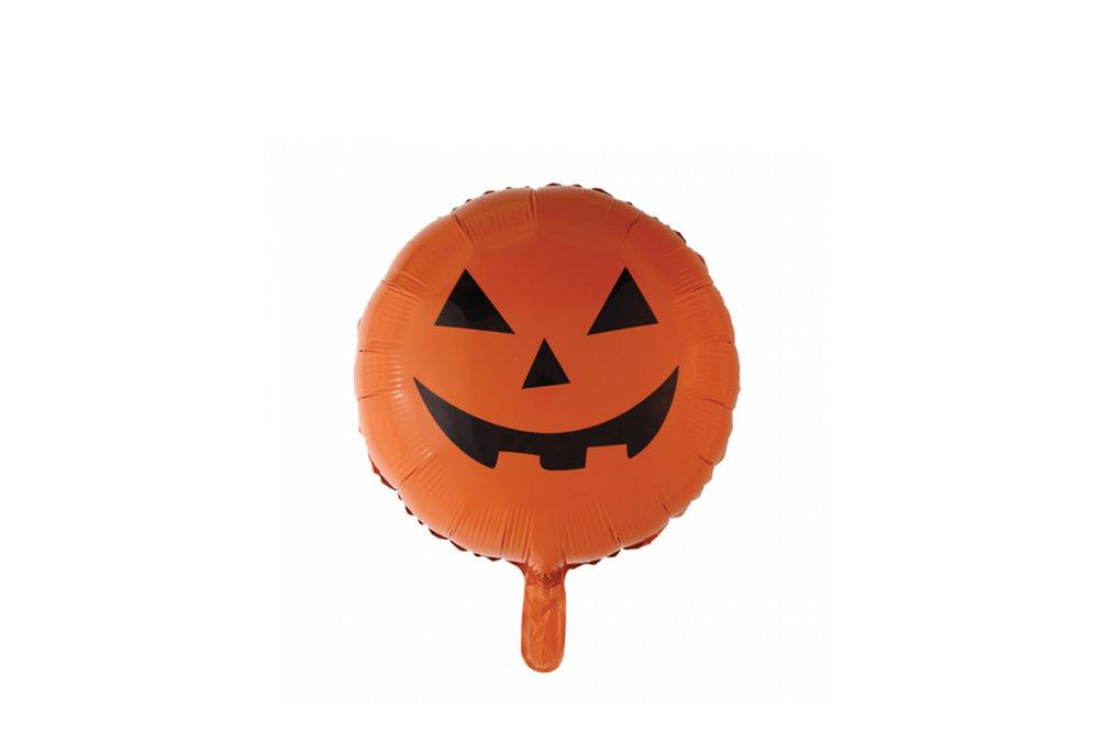 Folie ballon Halloween rond met gezicht kleur oranje  46 cm groot