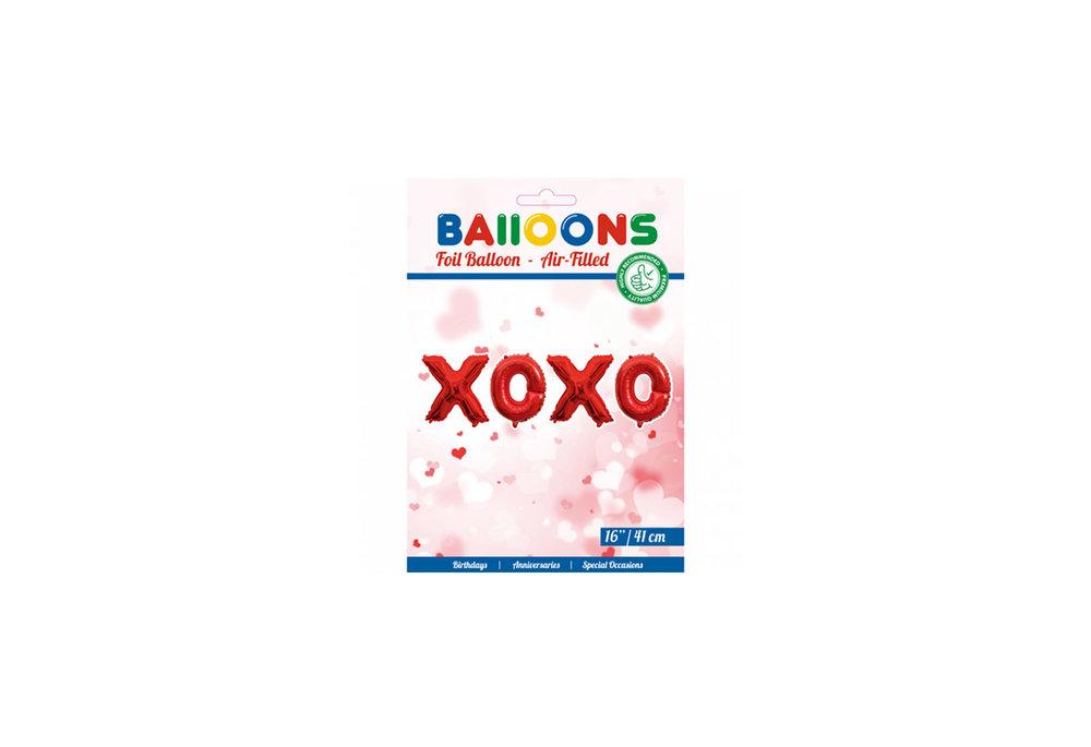 Folie ballon woord XOXO 41 cm groot in de kleur rood