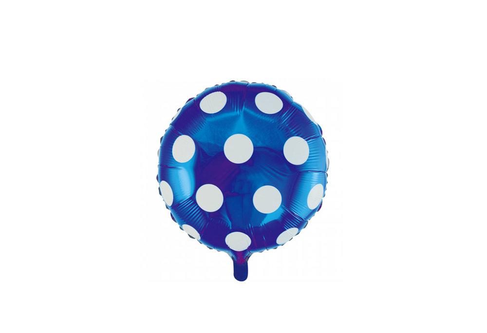 Ronde folie ballon met stippen 46 cm donker blauw