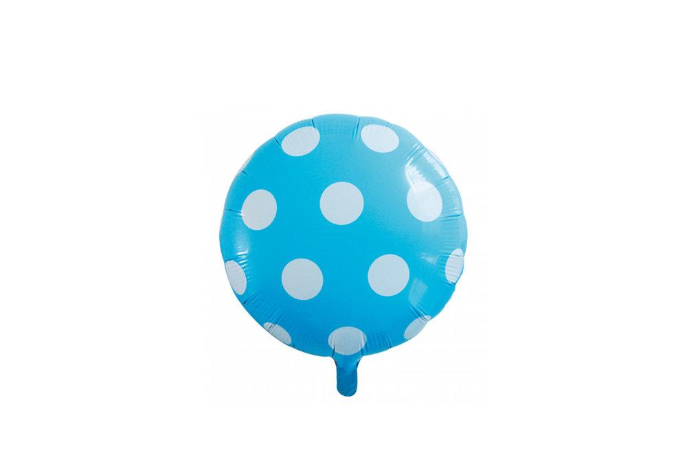 Ronde folie ballon met stippen 46 cm licht blauw