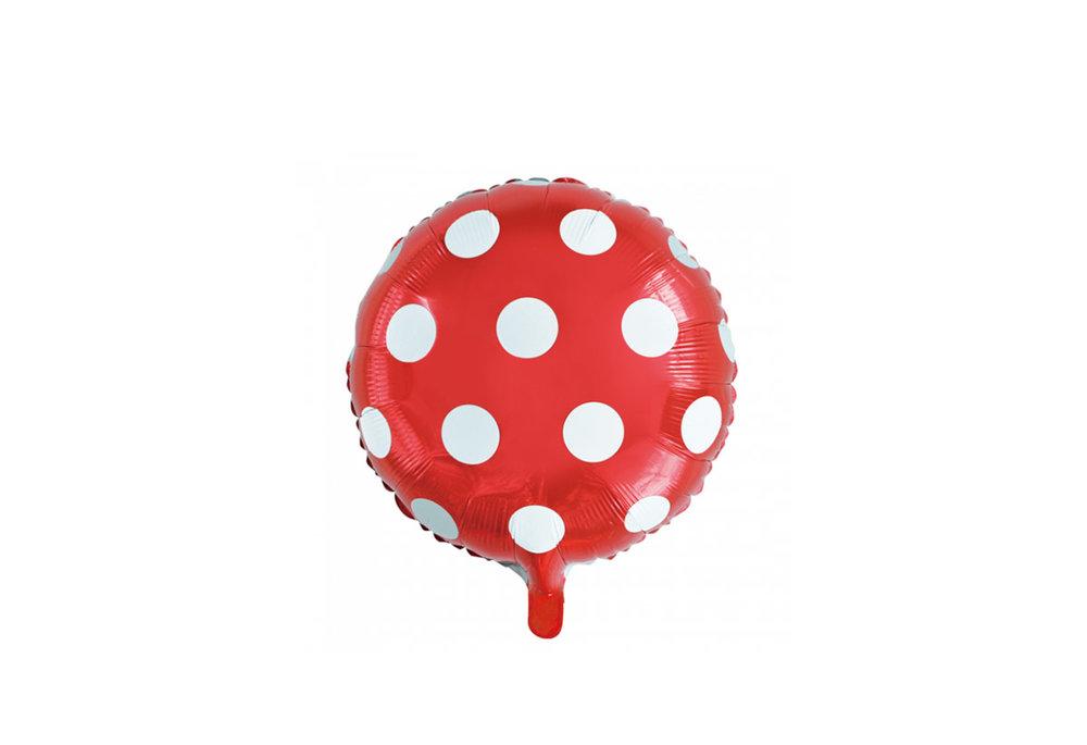 Ronde folie ballon met stippen 46 cm rood