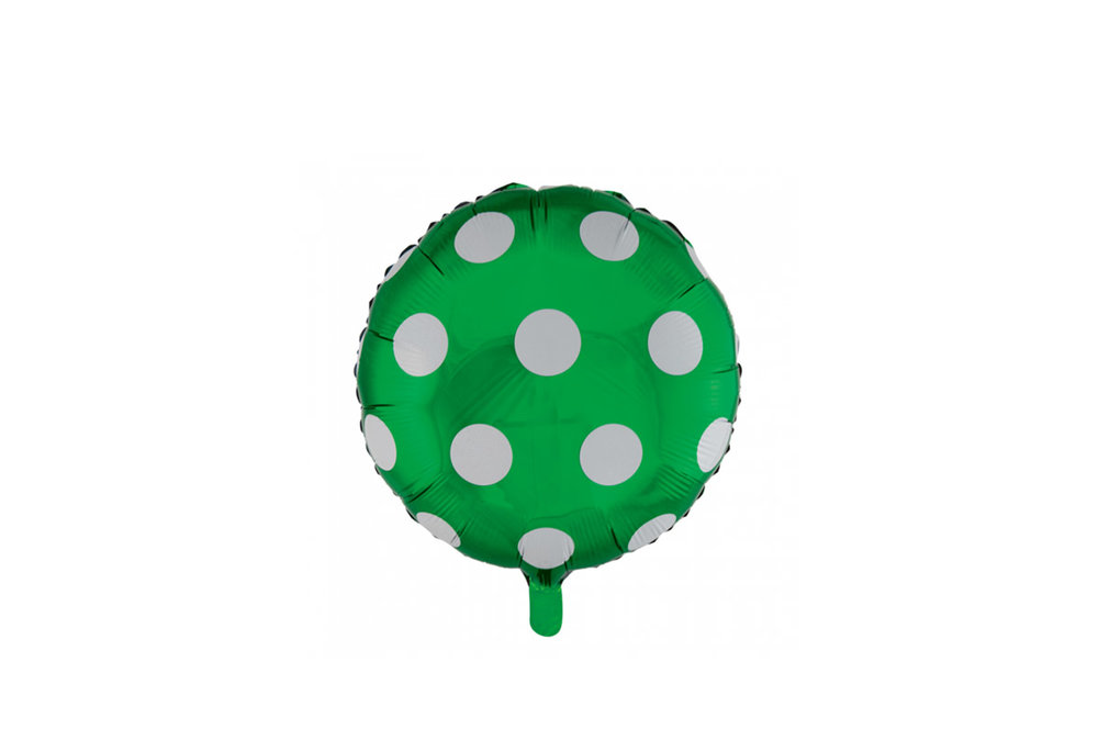 Ronde folie ballon met stippen 46 cm donker groen