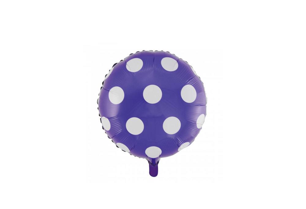 Ronde folie ballon met stippen 46 cm paars