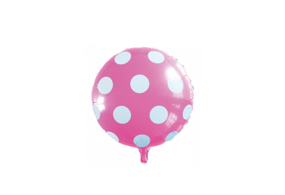 Ronde folie ballon met stippen 46 cm licht roze