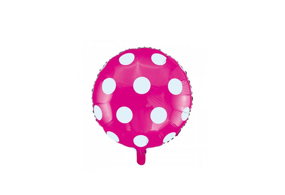 Ronde folie ballon met stippen 46 cm fel roze