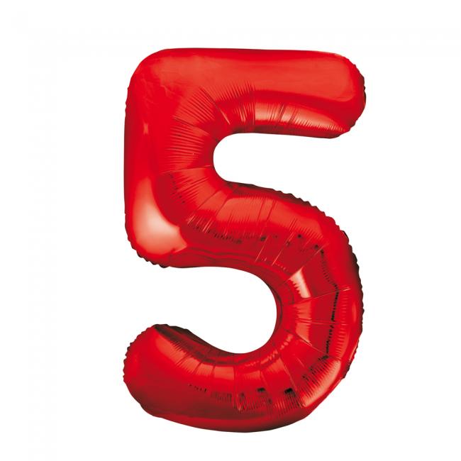 Cijferballon rood 86 cm nummer 5 professionele kwaliteit
