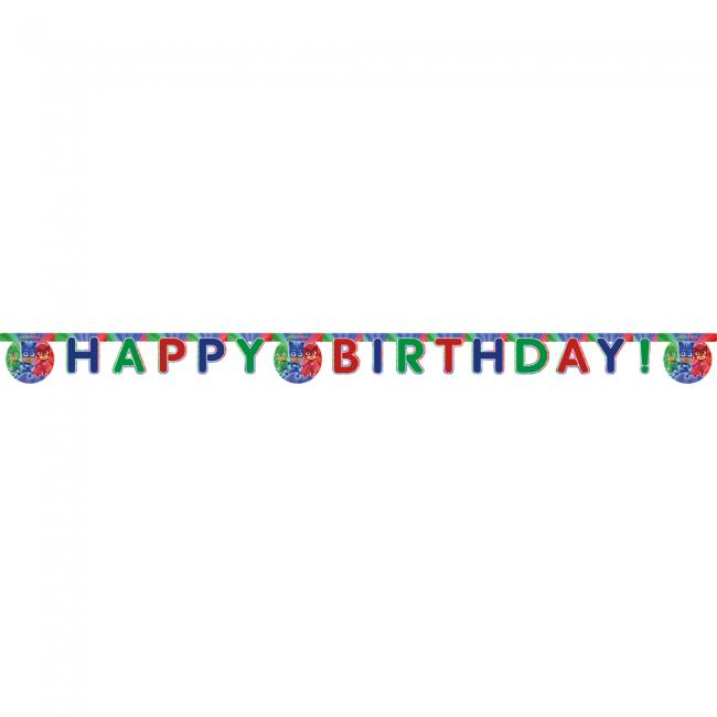 Happy Birthday gestanste banner - PJ-maskers