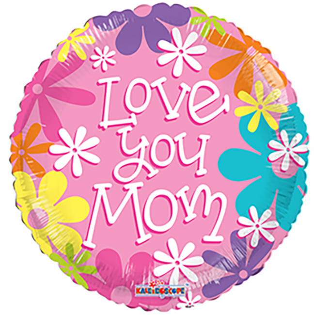 Folie ballon love you mom 46 cm doorsnee