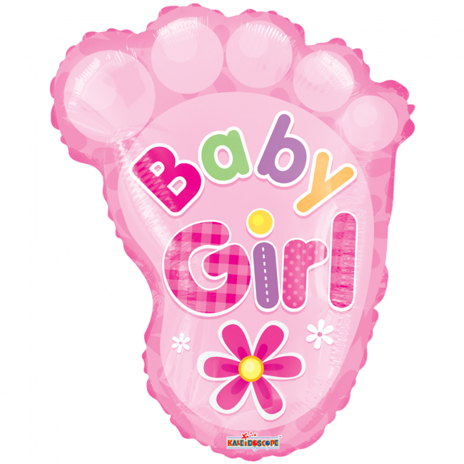 Folie ballon baby voet girl 51 cm groot