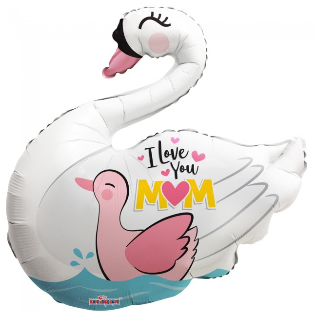 Folie ballon xl zwaan I love you mom 91,4 cm groot