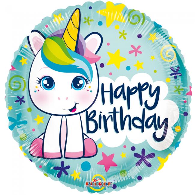 Folie ballon met eenhoorn rond happy birthday 46 cm groot