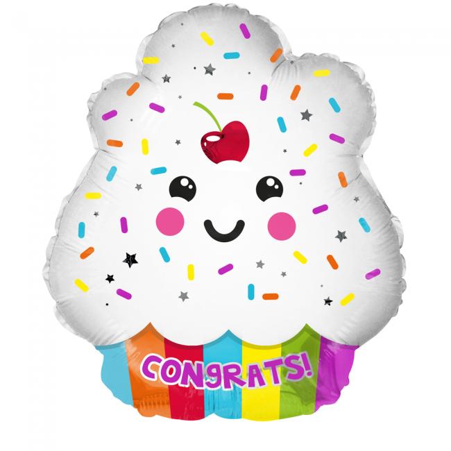Folie ballon als leuke cupcake congrats ! 46 cm groot