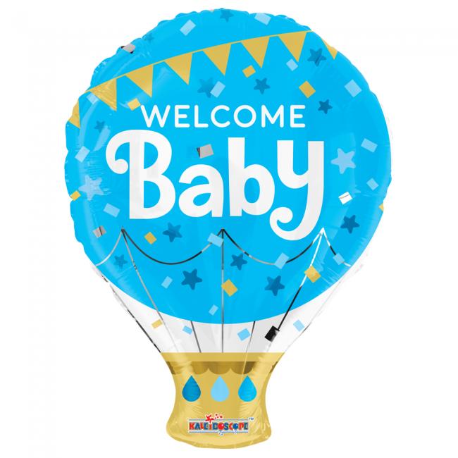 Folie ballon als luchtballon welcome baby blauw 46 cm groot
