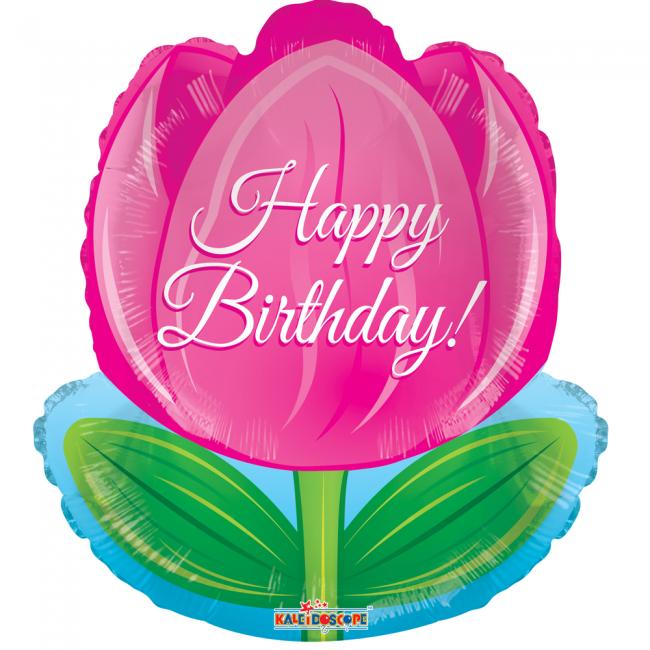 Folie ballon als tulp happy birthday 46 cm groot