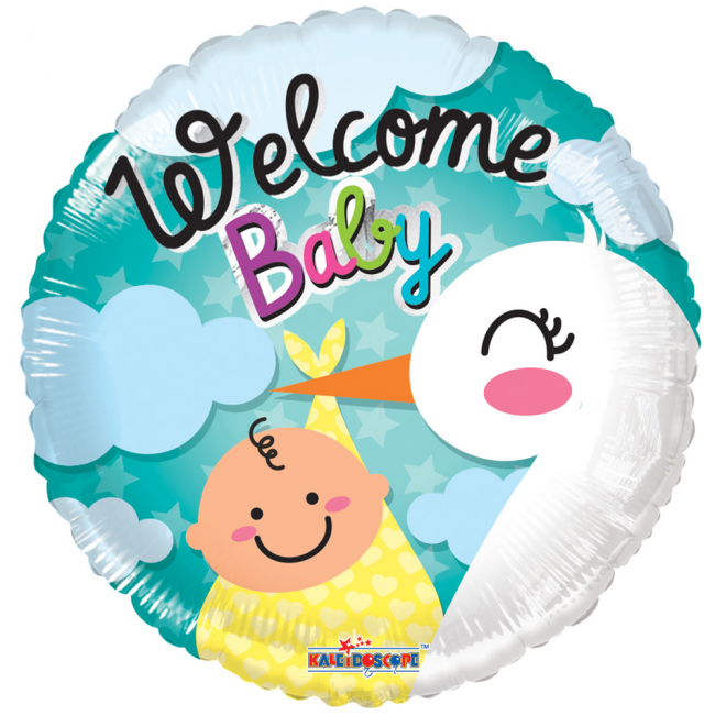 Folie ballon als welcome baby rond 46 cm groot
