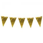 Vlaggen slinger met grote vlaggen (30-45 cm) gold