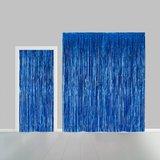 Partygordijn blauw. 100cm x 240 cm. Vlamvertragend._