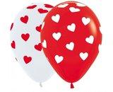 25 stuks - Rode ballon met witte hartjes/witte ballon met rode hartjes 30 cm hoge kwaliteit_