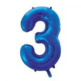 Cijferballon blauw 86 cm nummer 3 professionele kwaliteit