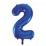 Cijferballon blauw 86 cm nummer 2 professionele kwaliteit