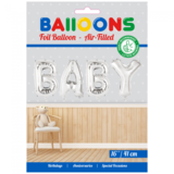 Folie ballon baby zilver in letters