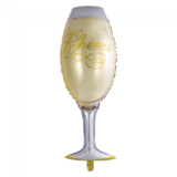 Folie ballon in de vorm van een champagne glas 109 cm groot