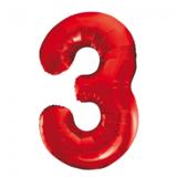 Cijferballon rood 86 cm nummer 3 professionele kwaliteit