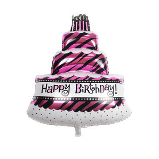 Grote XL happy birthday slagroomtaart met kaarsjes ballon 100 cm