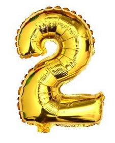 ballon - 40 cm - goud - cijferballon - cijfer 2