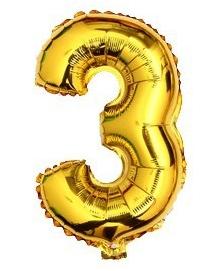ballon - 40 cm - goud - cijferballon - cijfer 3