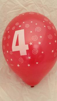 10 stuks latex ballonnen cijfer 4 gemengde kleuren 30 cm hoge kwaliteit