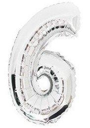 100 cm grote XL folie ballon van hoge kwaliteit nummer 6 zilver