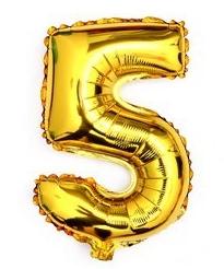 ballon - 40 cm - goud - cijferballon - cijfer 5