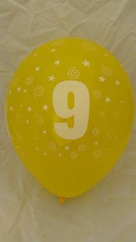 10 stuks latex ballonnen cijfer 9 gemengde kleuren 30 cm hoge kwaliteit